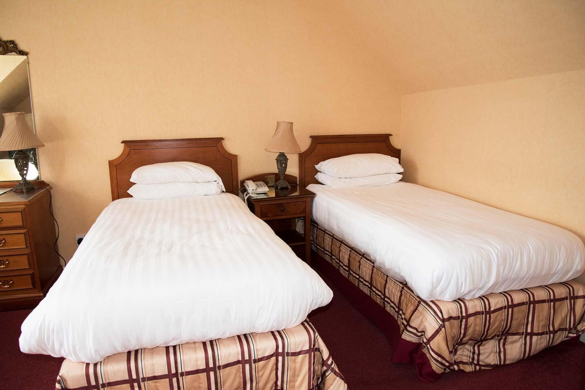 Twin En-suite Room Ground Floor in annexe building,50m from the main hotel. Restricted view.