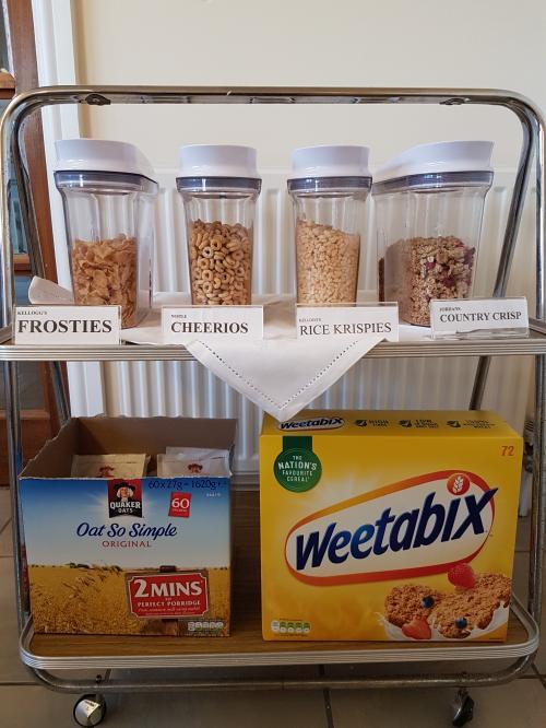self serve breakfast- Cereal selection
