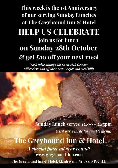 The Greyhound Sunday Lunch Anniversary Poster Oct