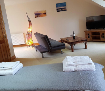 Deluxe King size suite with open lounge area and en-suite bathroom